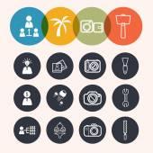 Kolekcja koło serii ikon, biznes, turystyka, aparat fotograficzny, konstruowanie — Wektor stockowy
