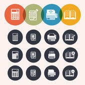 Collection Circle Series icons ,Calculator, notepad, print, book — Stock Vector