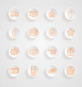 Shopping Icons button shadows vector set — Stock Vector
