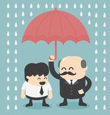 Businessman with umbrella — Stock Vector