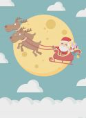 Santa Claus with reindeer fly over the cloud and the moon  — Stock Vector
