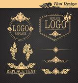 Vector set: thai art design elements — Stock Vector
