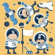 Постер, плакат: Set character astronauts in space and Rocket Ships Robots Planet