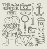 Hipster character design . Linear — Stock Vector