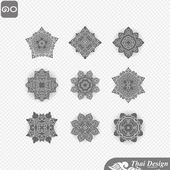Set of  Line thai art design — Stock Vector