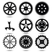 Set silhouettes of gears — Stock Vector