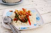 Fried rice with mixed seafood Basil 2 — Stock Photo
