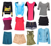 Fashion female clothes collage.Woman wear set isolated. — Stock Photo