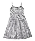 Girl silver dress isolated.Sparkling party dress. — Stock Photo