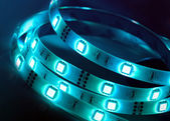 Led shining diode lights. Strip. — Stock Photo