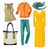 Bright modern clothes set. Collage female clothing wear isolated — Fotografia Stock