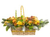 Basket withl flowers — Stock Photo