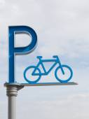 Bicycle parking sign against the sky — Foto Stock