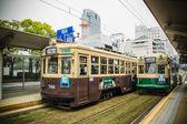 A local streetcar (tram) at Hiroshima city — Stock Photo