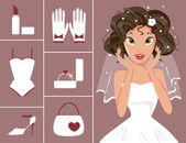 Bride and wedding accessories — Stock vektor