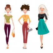 модная девушка. векторные иллюстрации — Cтоковый вектор