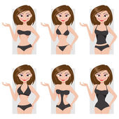 Types of swimsuits. Vector illustration — Stock Vector