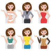 Different styles of clothing. Vector illustration — Stock Vector