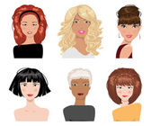 Set of female hair style. Vector collection — Stock Vector