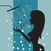 Silhouette of beautiful girl taking a shower — Stock Vector