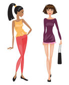 Two young beautiful fashionable woman. Vector illustration  — Vettoriale Stock