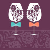 Romantic card with two glasses. Vector illustration — Cтоковый вектор