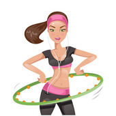 Girl with hula hoop. Vector illustration — Stock Vector