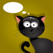 Black cat with a cloud of thoughts. Vector illustration — Stock Vector #69789323