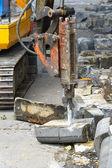 Jackhammer på byggnadsplatsen — Stockfoto
