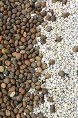 Schwarzen und weißen Kieselsteinen — Stockfoto