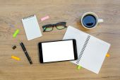 Office supply and Cup of coffee — Stock Photo