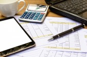 Desk office business financial accounting calculate — Stock Photo