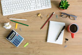 Office supply and Cup of coffee on desk — Stock Photo