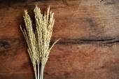 Wheat on old wood background — Stock Photo