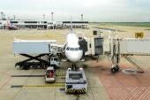 Airplane maintenance checking during refueling and loading bagga — Stock Photo