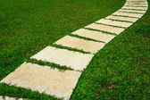 Gardening stone footpath with grass — Stock Photo