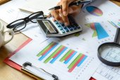 Desk office business financial accounting calculate, Graph analy — Stock Photo