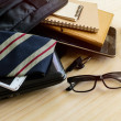 Businessman accessories and notebook bag on desk, Business conce — Stock Photo #80049910