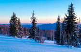 Winter evening in the Ural mountains. Russia — Stock Photo