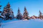 Winter evening in the Ural mountains. Russia — Foto Stock