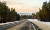 Winter road in Siberia. — Foto de Stock