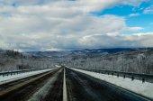 Winter road in Siberia. Russia — Stockfoto
