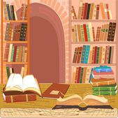 Interior of the library with an open book — Stock Vector