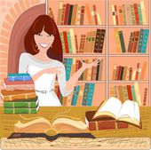 Librarian with an open book on background bookshelf — Stock Vector