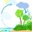 Water cycle in nature — Stock Vector #52885089