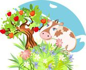 Cute cow with a flower and apple tree — Stock Vector