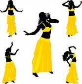 Five silhouettes of belly dance dancer — Stock Vector