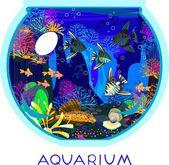 Marine aquarium with saltwater fish — Stock Vector