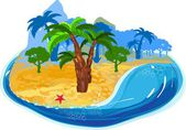 Tropical island with palms — Stock Vector