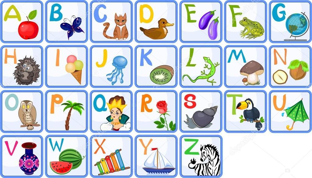 Englisches Alphabet mit Bildern u2014 Stockvektor u00a9 mariaflaya #93695576